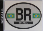 Brazil Country Flag Oval Decal.